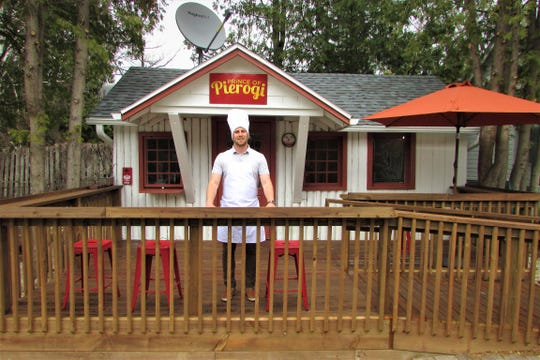 Krzysztof Krol on the deck of his new Prince of Pierogi restaurant in Ephraim. The Polish dining establishment plans to open May 26.