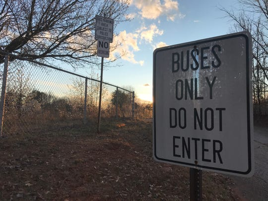 A sign posted off Arcadia Drive north of Greenville, S.C., on Feb. 28, 2020, still marks the entrance for school buses to the former Washington Center, closed in 2004 and torn down in 2015. Before serving as a center for educating disabled children, the facility was Washington High, an all black school that shut down after Greenville County's schools were integrated.