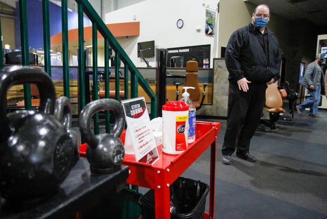 John Boll, general manager of the Peak Health and Wellness Center, has worked to prepare his facilities and staff for the gym's reopening on Monday, May 18.  The gym has multiple sanitizing stations to promote the health of members and employees.