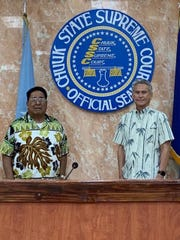 Camillo Noket, left, died on May 4. He was the president of the Pacific Judicial Council and Chief Justice of the Chuuk State Supreme Court.