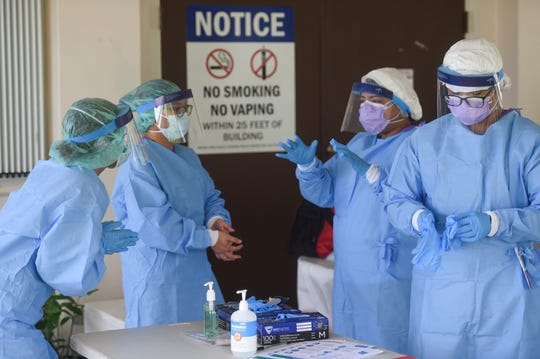 Public Health and Guam Department of Education nurses hold free COVID-19 testings at the GHURA public housing area in Agat, May 15, 2020.