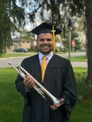 Kamal Talukder graduated with a bachelor of music in Trumpet performance and a bachelor of art in music education this May. He'll head to Sioux City this summer for an assistant band director job.