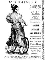 This image from the 1899 Ithaca City Directory shows a fashionably dressed woman advertising for one of Ithaca's early bike shops.