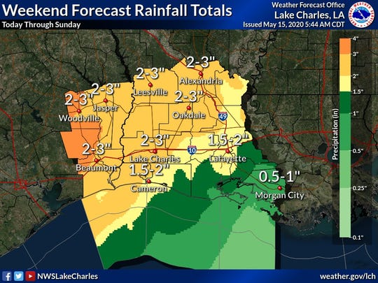 An area of low pressure is expected to move across Louisiana over the weekend, bringing rain and thunderstorms.