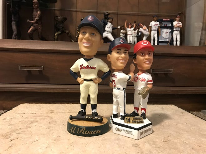 The 2004 stadium giveaway Cleveland Indians bobbleheads were nostalgic with Al Rosen and an Omar Vizquel, Dave Concepción double.