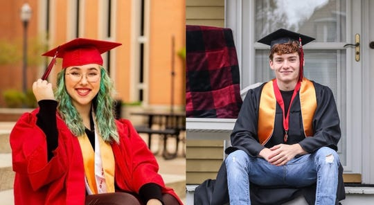Madilynn Motes, left, is the valedictorian and Daniel Stimson, right, is the salutatorian of the Marion Harding High School Class of 2020. The 277 members of the senior class will graduate during a drive-through diploma ceremony on Sunday at the high school.