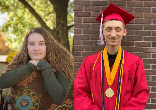 McKinley Britton, left, is the valedictorian of the Ridgedale High School Class of 2020, and Noah Daugherty, right, is the class salutatorian. The 57 members of the 2020 senior class will graduate via a drive-through ceremony on Sunday afternoon at the high school. Like students all over the country, the last few months of their senior year have been turned upside down by the coronavirus pandemic and restrictions put in place to try to slow the spread of the virus.