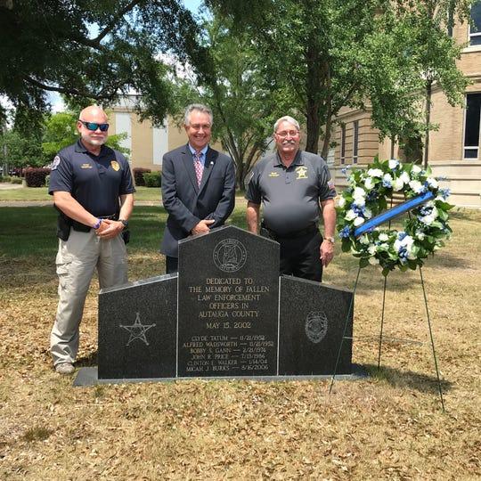 From left, Prattville Police Chief Mark Thompson, Mayor Bill Gillespie Jr. and Sheriff Joe Sedinger
