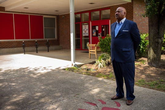 Dr. Roderick Glatt poses for a portrait at Robert E. Lillard Elementary School in Nashville, Tenn., Friday, May 15, 2020. Metro plans to close the school, which is named after Glatt's grandfather, and move the students to another school in the district.