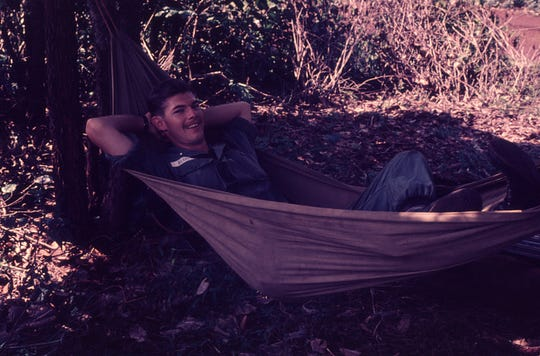 Bruce Beardsley, now of Naples, relaxes while on a mission in Vietnam's central highlands in 1966.