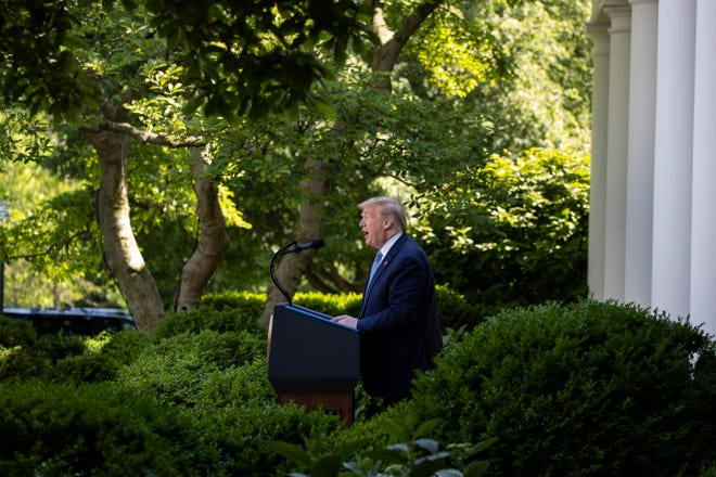 President Donald Trump speaks during a presidential recognition ceremony in the Rose Garden of the White House, Friday, May 15, 2020, in Washington. (AP Photo/Alex Brandon)