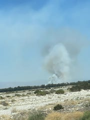 The fire seen from Gene Autry Trail on May 15, 2020.