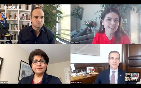 Leon Krauze, Regina Romero, Janet Murguia and Eric Garceti during the virtual Town Hall.