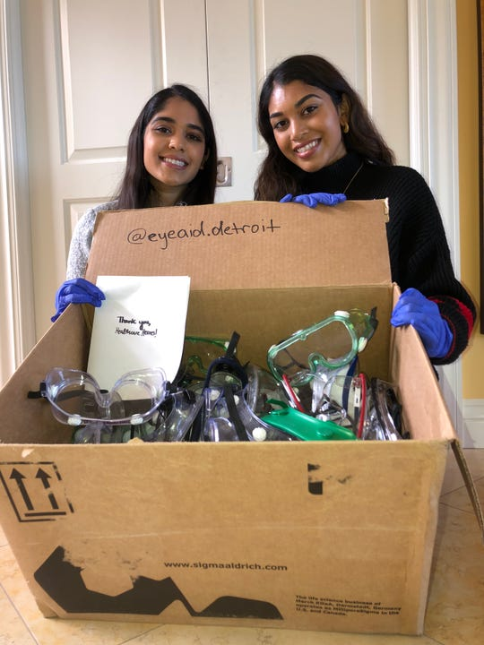 Sophia, left, and Aishah Amed, right, founded EyeAid Detroit. EyeAid Detroit is collecting goggles from university students to be donated to area hospitals for use as personal protective equipment.