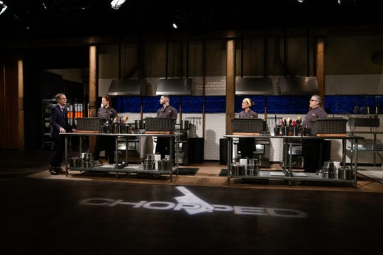 """Host Ted Allen with all four contestants, as seen on """"Chopped,"""" season 44."""