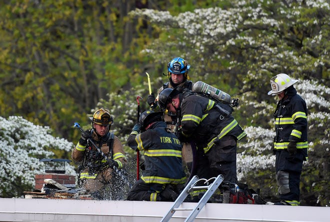 Firefighters from several area departments quickly doused a fire at WellSpan Family Health in the 2400 block of S. Queen Street in York Township, Thursday, May 14, 2020.John A. Pavoncello photo