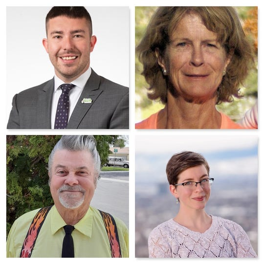 From upper left, Donald Abbott, Kristine Grimes, Dick Kirtley and Wendy Stolyarov are running for Sparks City Council Ward 1.