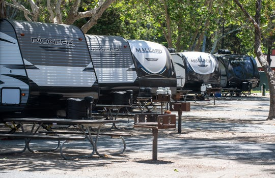 Monterey County has set up a COVID-19 alternate housing site at San Lorenzo Park in King City, Calif, on Thursday, May 14, 2020.