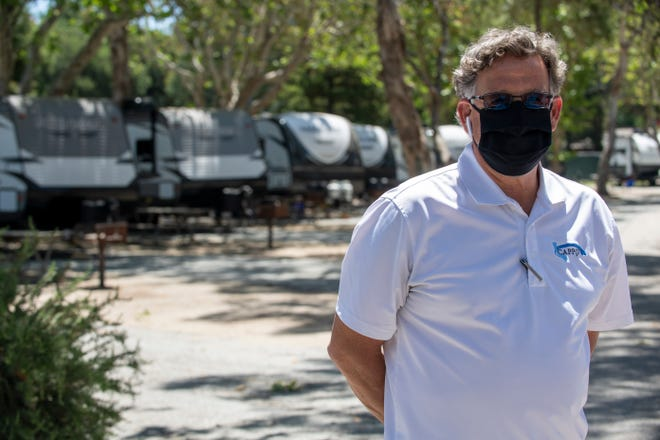 Monterey County Contracts and Purchasing Officer Mike Derr stands in front of the media inside the San Lorenzo Park in King City, Calif, on Thursday, May 14, 2020.
