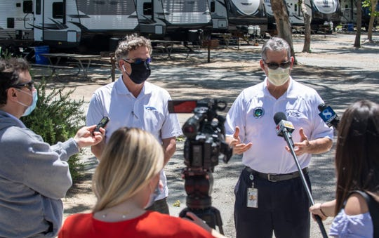County Office of Emergency Services director Gerry Malais talks to members of the media inside the San Lorenzo Park in King City, Calif, on Thursday, May 14, 2020.