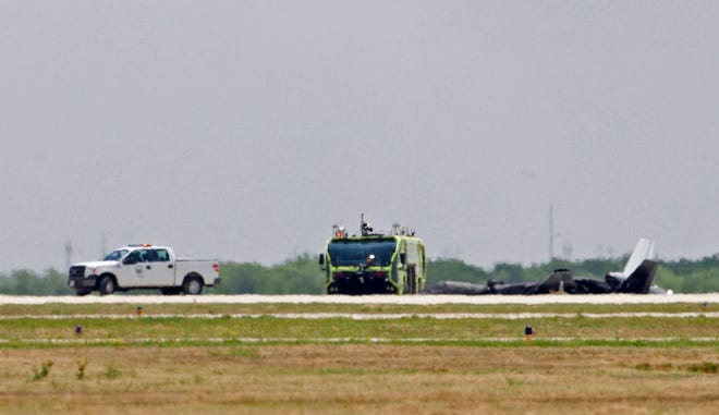 The scene of the crash of an unmanned aircraft, at right, at the San Angelo Regional Airport can be seen in this Friday, May 15, 2020 photo.
