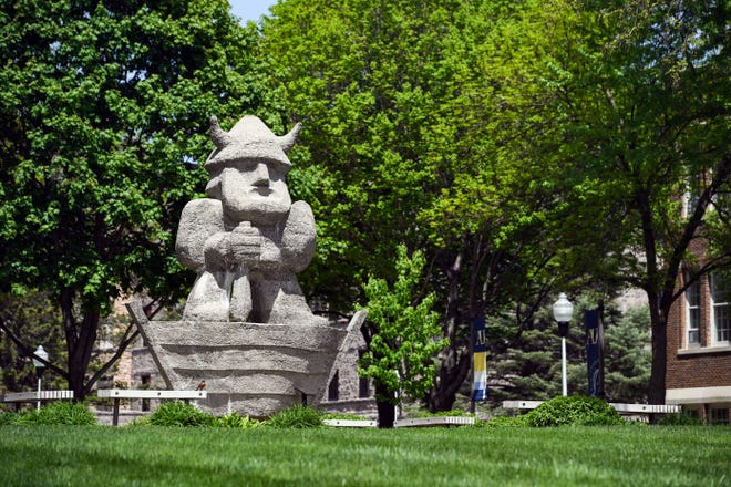 A statue of Ole the Viking stands in the center of campus as it remains closed on Friday, May 15, at Augustana University in Sioux Falls.