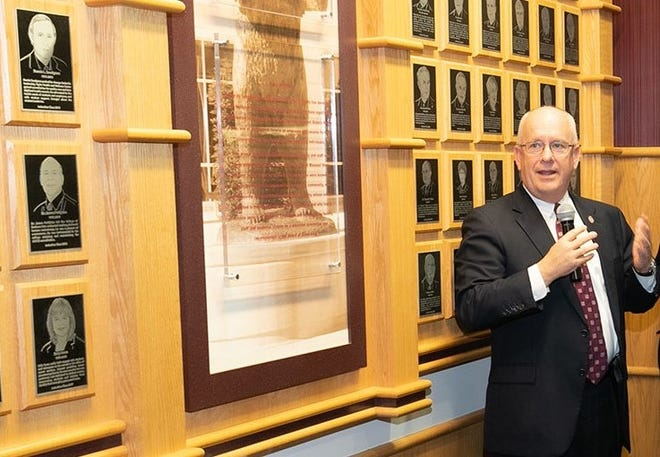 MSU President Clif Smart talks at the 2019 Wall of Fame induction held at Plaster Student Union.