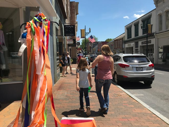 Visitors strolling down Beverley Street on Friday, May 15, 2020 in downtown Staunton.