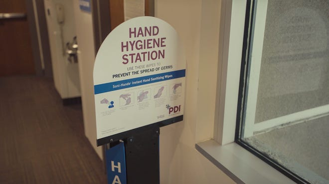 Dixie Regional Medical Center places hand hygiene stations in their facilities Tuesday, May 12, 2020.