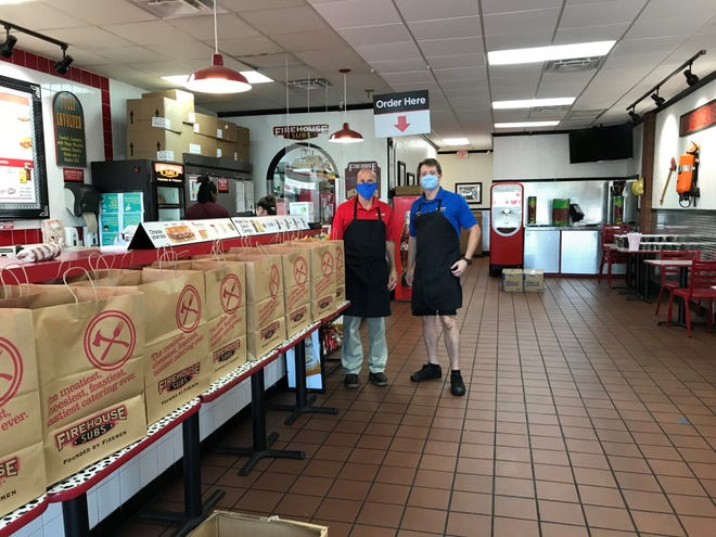 Firehouse Subs Area Representatives Chris and Lisa Holmes and Franchisees Brandon Jerkins and Matt Holmes, in partnership with the Firehouse Subs Public Safety Foundation and the Capital Area Chapter of The Red Cross donated 250 meals recently to the Kearney Center.