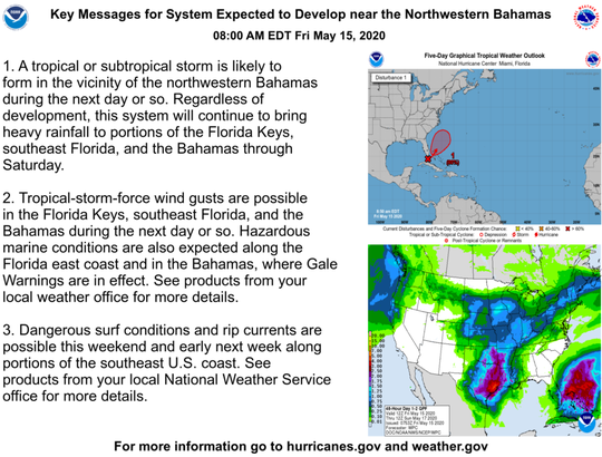 Key messages for tropical system off Florida May 15, 2020.