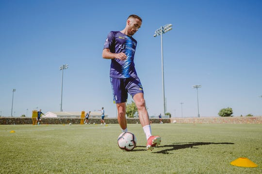 Locomotive midfielder Nick Ross works out May 12, 2020, at the Westside Sports Complex in El Paso.