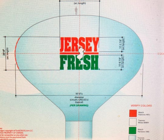 """The City of Vineland and N.J. Department of Agriculture are teaming up to add the """"Jersey Fresh"""" logo to the municipal water tower, located across Main Road from the Vineland Produce Auction."""