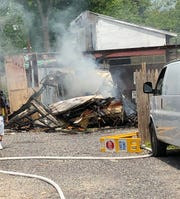 Fire destroyed a Prowler trailer parked in the driveway of a West Park Avenue property in Vineland. May 15, 2020.