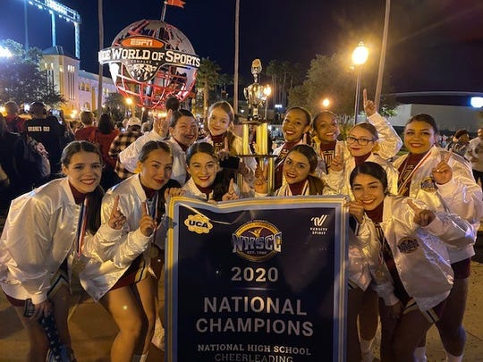 The Tulare Union High School cheer team won a national championship in its respective division in February in Florida. The championship team includes, front row, left to right: Joelle Pimentel, Jenna Carlson, Mackenzie Simmons, Vanessa Medina, Mikah Renteria; back row, left to right: Jayden Flores, Katelyn Jeffries, Graysen Young, Hannah Hooks, Megan Melson, Jayda Salazar. Not pictured: Sage Mendiburu.