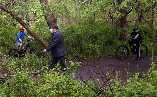 Westchester County Executive George Latimer walks along a mountain bike course that was built in Graham Hills Park in Pleasantville May 15, 2020.