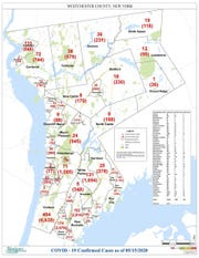 Town-by-town numbers for Westchester County for May 15, 2020.