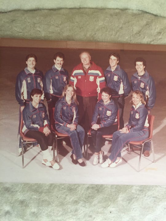 Ron Ludington, top row, center, and his skaters at the 1984 Winter Olympics in Sarajevo. Scott Gregory and his partner, Elisa Spitz are far left. Silver medalists Peter and Kitty Carruthers are second from right.