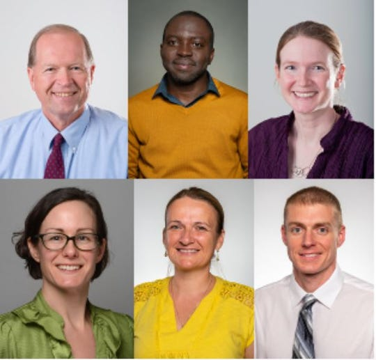UW-River Falls awarded six faculty research fellowships to help increase dairy-related research capacity through the Dairy Innovation Hub initiative. Top row from left, Larry Baumann, Albert Boaitey, Jill Coleman Wasik. Bottom row from left, Veronica Justen, Sylvia Kehoe, Patrick Woolcock.