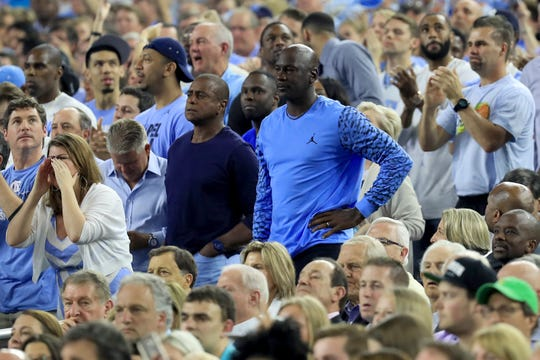 Ahmad Rashad and Michael Jordan stand together during the national championship game between UNC and Villanova in 2016.