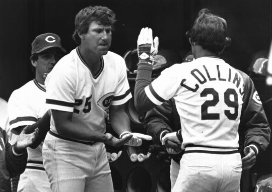 1981: Opening Day 1981. Ray Knight and Dave Collins in ninth inning after Collins tied the game 2-2.
