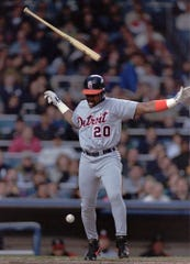 Tigers batter Eddie Williams (20) tosses his bat in the air after being hit by a pitch thrown by  Yankees pitcher Dwight Gooden in the first inning with the bases loaded May 8, 1996, at Yankee Stadium in New York.