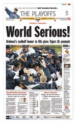 The Sports front from Oct. 15, 2006, the day after Magglio Ordonez homered in the ninth innning to send the Tigers to their first World Series since 1984.