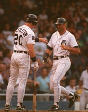 Tigers DH Kirk Gibson is congratulated by catcher Mickey Tettleton after hitting a homer in the second inning that got the Tigers within two runs of the Oakland A's. The Tigers lost, 6-4.