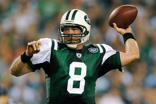 In this Sept. 2, 2010 photo, New York Jets' Mark Brunell throws a pass in a preseason game against the Eagles.