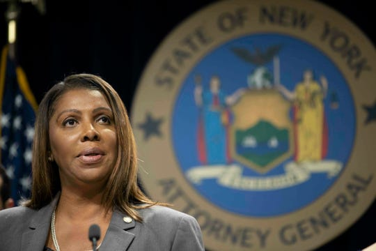 FILE - In this June 11, 2019, file photo, New York Attorney General Letitia James speaks during a news conference in New York. On Friday, May 8, 2020, James asked an appeals court to scrap the June 23, 2020, Democratic presidential primary in New York, saying the election was properly nixed until a judge decided it was unconstitutional to do so.