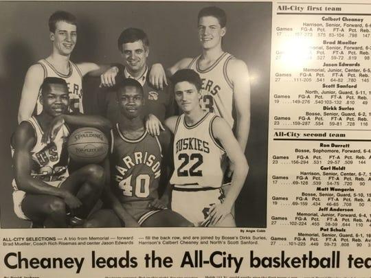 Bosse's Dirkk Surles (front left), alongside Harrison's Calbert Cheaney (40) on the Evansville Press' 1989 All-City team.