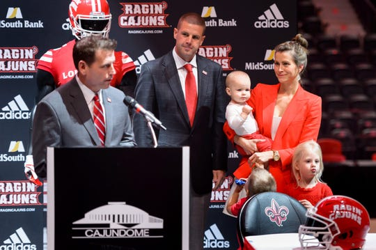 Ragin' Cajuns coach Billy Napier, his wife Ali Napier and their family are introduced when he was hired by UL in December 2017.