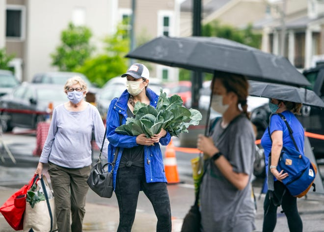 People peruse items at the downtown Memphis Farmers Market on Saturday, May 16,2020. Due to COVID-19 the market has incorporated new rules requiring all shoppers to wear masks.