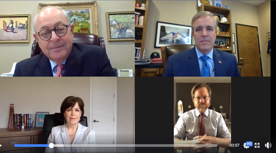 Franklin Mayor Ken Moore; Eric Stuckey, city administrator; Ellie Chin, CEO of Visit Franklin; and Matt Largen, president and CEO of Williamson Inc., gathered on Zoom for the city's first virtual State of the City address on Friday.